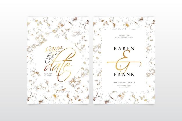 Элегантный мраморный шаблон свадебного приглашения с золотыми деталями Бесплатные векторы