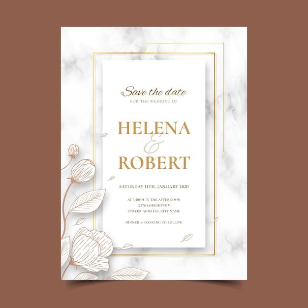 Свадебная мраморная открытка с цветами Бесплатные векторы