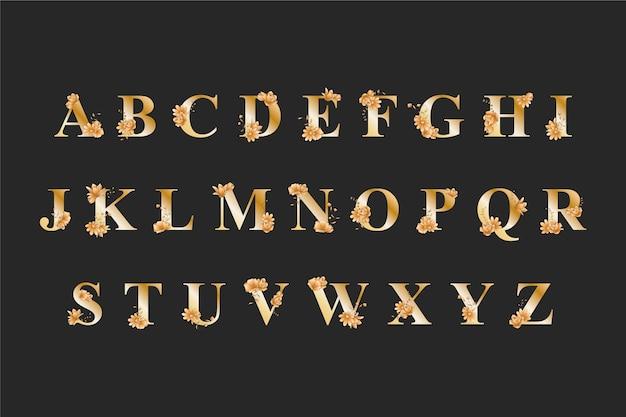 Золотой алфавит с элегантными свадебными цветами Бесплатные векторы