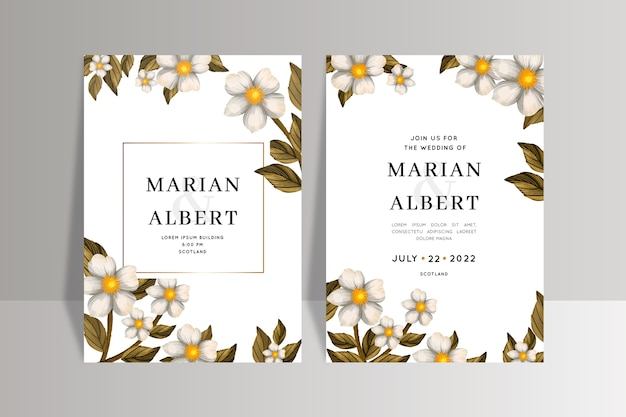 Шаблон свадебного приглашения с цветами Бесплатные векторы