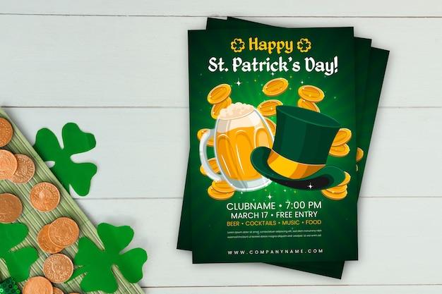 フラットなデザインの聖パトリックの日のポスターテンプレート 無料ベクター