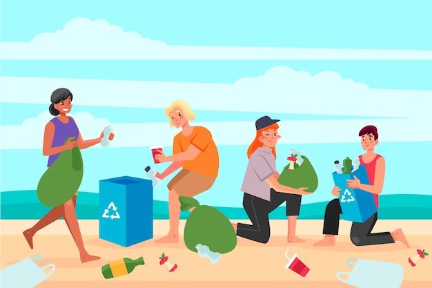 ビーチを掃除するキャラクター 無料ベクター