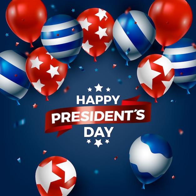 現実的な風船で大統領の日デザイン 無料ベクター
