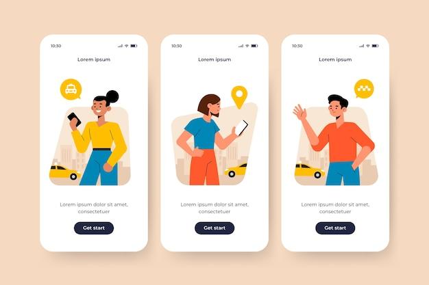 Экран приложения для темы такси Бесплатные векторы