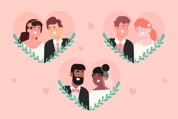 Плоский дизайн концепции коллекции свадьбы пара Бесплатные векторы