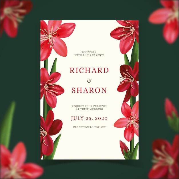 花をテーマにした結婚式の招待状のテンプレート 無料ベクター