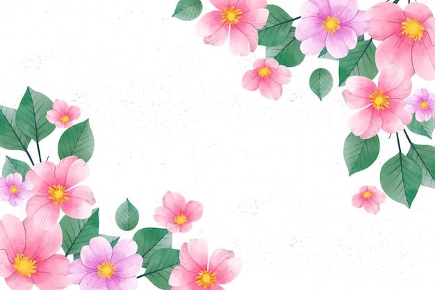 パステルカラーの水彩花の背景 無料ベクター
