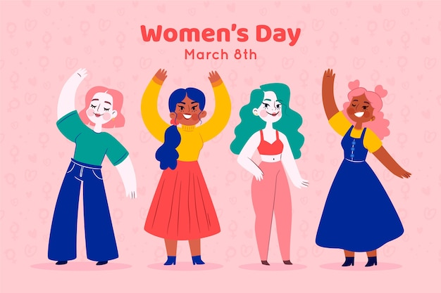 フラットなデザインの女性の日のコンセプト 無料ベクター