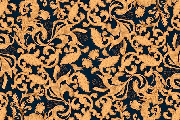 Золотой декоративный цветочный фон Бесплатные векторы