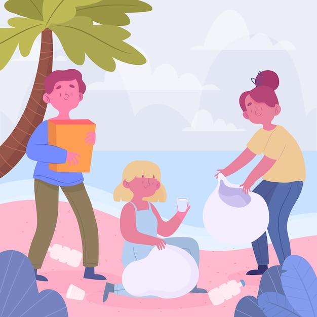 ビーチを掃除する人々 無料ベクター