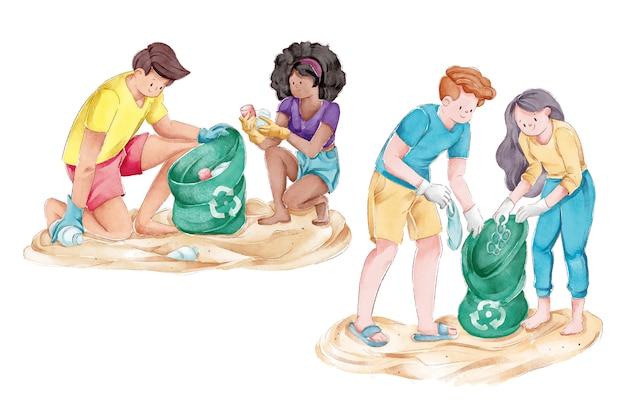 ビーチを掃除する生態学の人々のグループ 無料ベクター