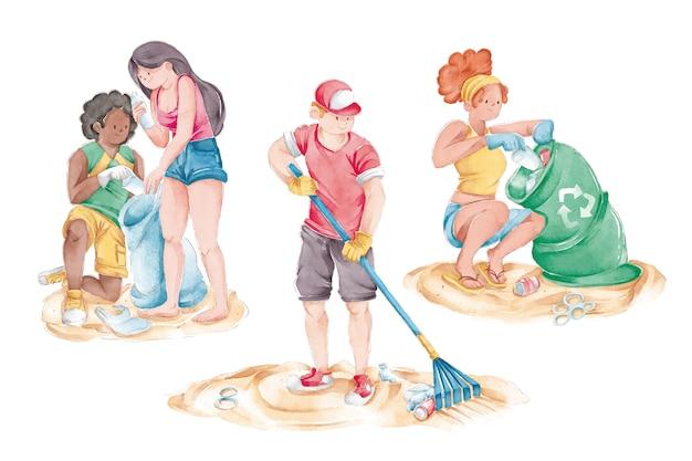 環境の人々がビーチを掃除 無料ベクター