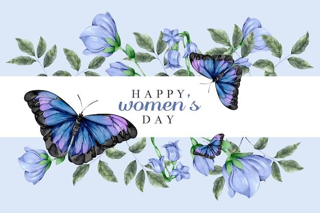 Акварель женский день концепция с бабочками Бесплатные векторы