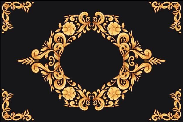 黄金の装飾用の花の背景 無料ベクター