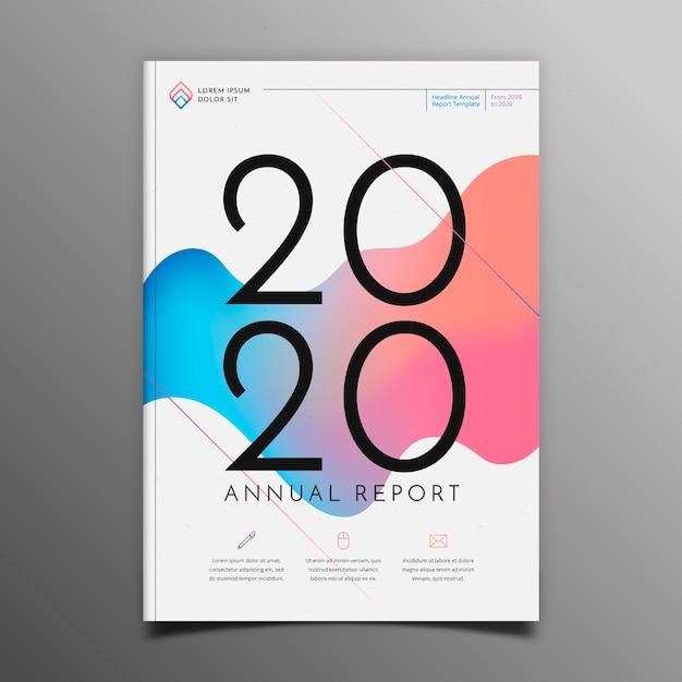 カラフルな抽象的な年次報告書テンプレート 無料ベクター