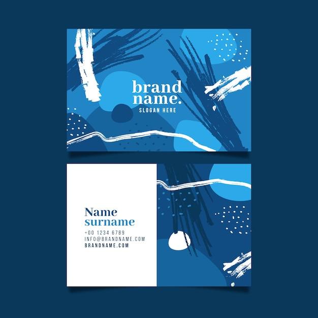 抽象的な古典的な青い名刺テンプレート 無料ベクター