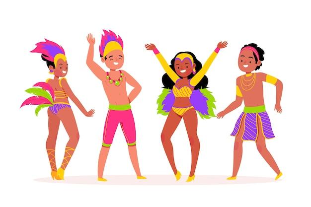 Счастливые люди танцуют и празднуют бразильский карнавал Бесплатные векторы