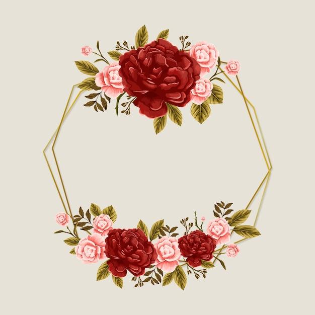 Рамка весеннего сезона с розовыми розами и красными цветами Бесплатные векторы