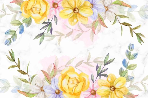 パステルカラーの背景水彩画の花 無料ベクター