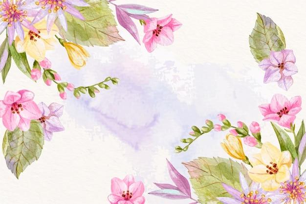 背景のパステルカラーの水彩画の花 無料ベクター