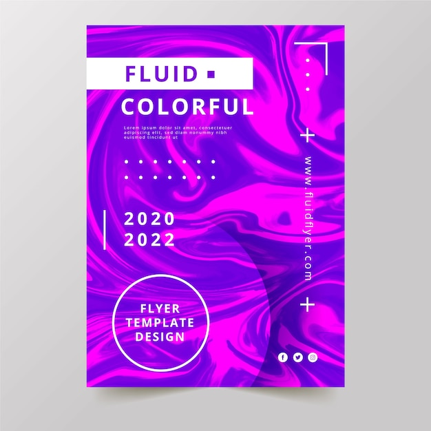 Красочный флаер с эффектом жидкости и текстом Бесплатные векторы