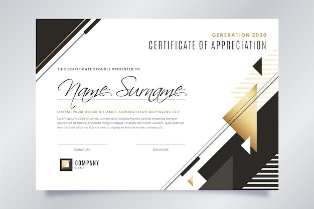 Черно-белый сертификат с золотыми деталями Бесплатные векторы