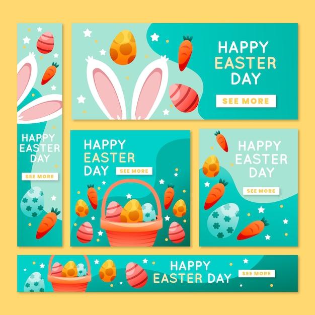 Кроличьи ушки и морковные пасхальные баннеры Бесплатные векторы
