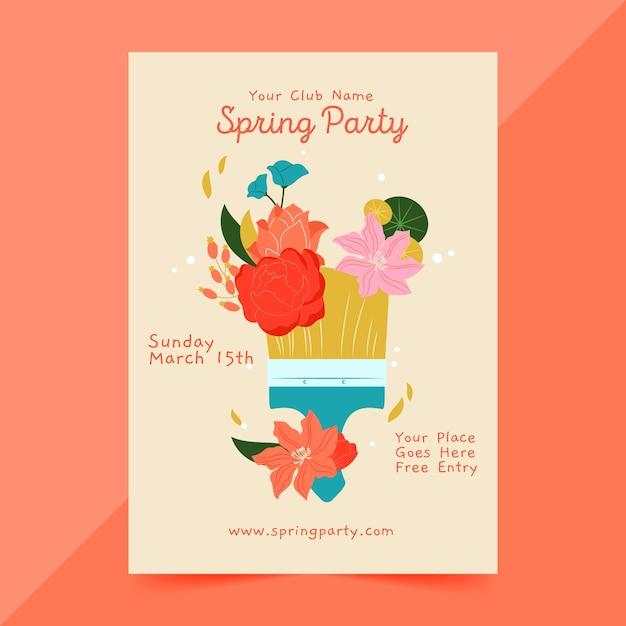 Нарисованный рукой шаблон плаката весенней вечеринки Бесплатные векторы