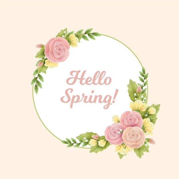 現実的な春の花のフレーム 無料ベクター