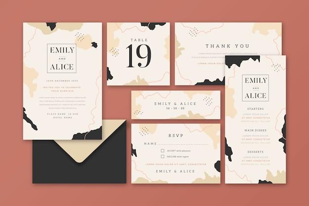 Красивые свадебные канцтовары Бесплатные векторы