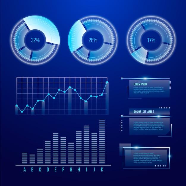 未来技術のインフォグラフィック 無料ベクター