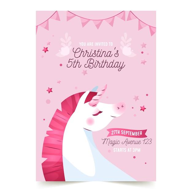 ユニコーンと子供の誕生日の招待状のテンプレート 無料ベクター
