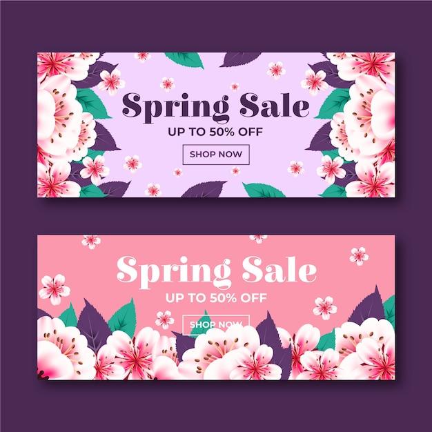 Цветущий градиент весенних цветов баннер продаж Бесплатные векторы