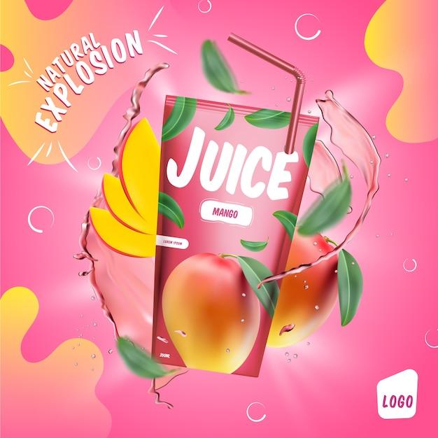 Объявление о напитке из красного яблочного сока Бесплатные векторы