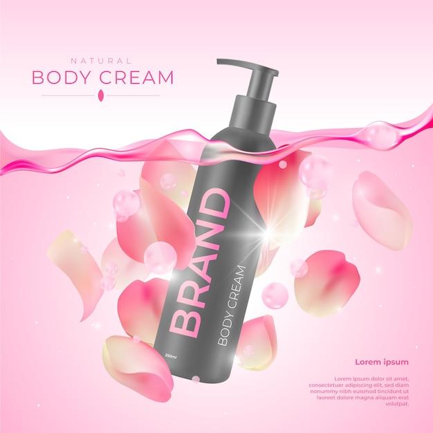 バラ化粧品広告付きボディクリーム 無料ベクター