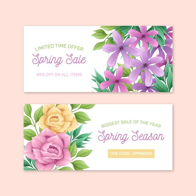 Розы и фиолетовые цветы весенняя распродажа рисованной баннер Бесплатные векторы