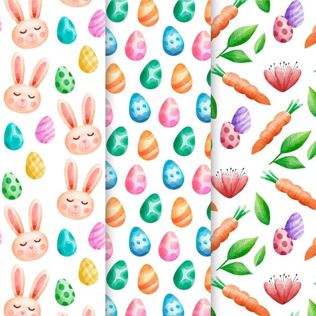 Пасхальный праздник акварель шаблон с аватарами кролика Бесплатные векторы