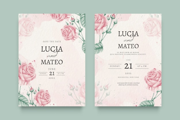 美しい花の結婚式の招待状 無料ベクター