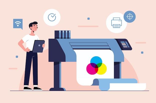 Иллюстрация концепции цифровой печати Бесплатные векторы