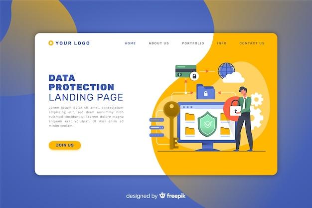 データ保護ランディングページ 無料ベクター