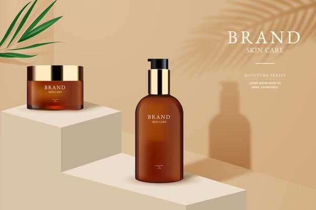 Реклама на бутылках по уходу за кожей Бесплатные векторы