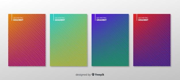 幾何学的グラデーションポスターコレクション 無料ベクター