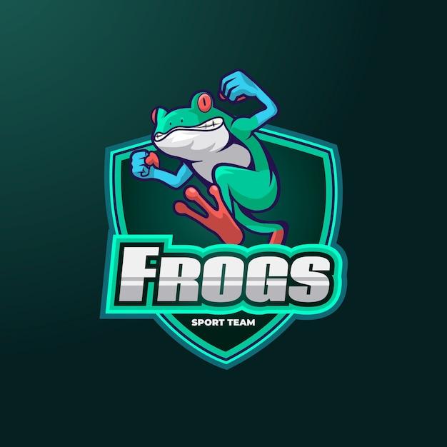 カエルのマスコットロゴ 無料ベクター