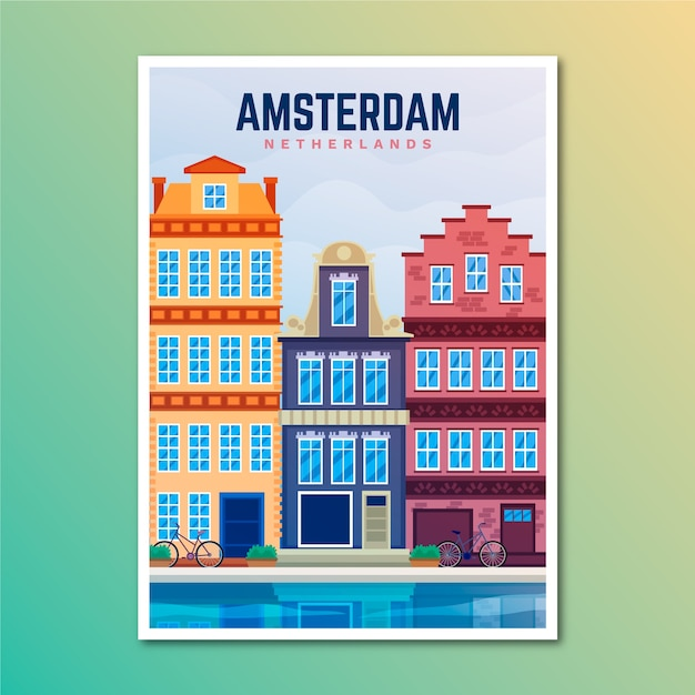 アムステルダムの休日旅行のポスター 無料ベクター