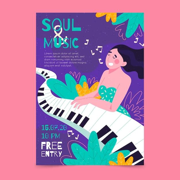 Иллюстрированный музыкальный плакат с девочкой, играющей на фортепиано Бесплатные векторы
