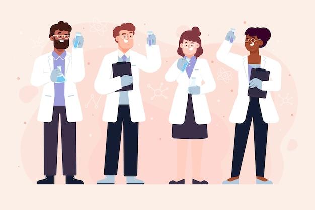 Группа ученых рабочих держит трубы Бесплатные векторы
