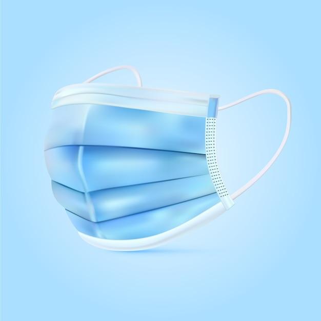 現実的な青い医療マスク 無料ベクター