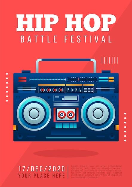 Шаблон постера хип-хоп музыки Бесплатные векторы