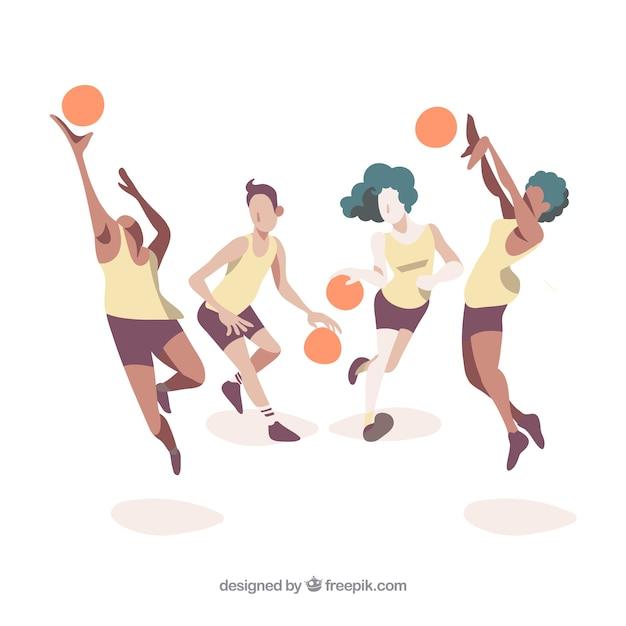 バスケットボールチームイラスト 無料ベクター