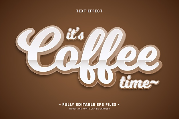 Это время кофе текстовый эффект Бесплатные векторы